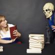 Night reading of terrible books — Stock Photo