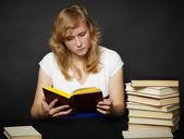 Evening reading of fiction — Stock Photo