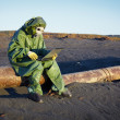 Environmental scientist in ecological disaster zone — Stock Photo