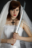 Young Bride armed sword — Stock Photo