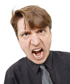 Fiercely cried young man close up — Stock Photo
