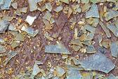 Background - broken glass on steel floor — Stock Photo