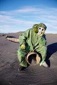 Scientific ecologist in urbanistic desert — Stock Photo