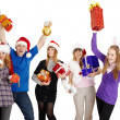 Happy company with New Year's gifts in hands — Stock Photo