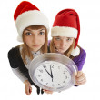 Stock Photo: Two girls are ready to greet the new year