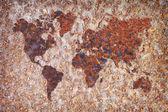 Weltkarte - flecken korrosion auf metall — Stockfoto