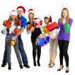 Group of young with New Year\'s gifts — Stock Photo