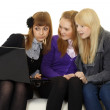 Stock Photo: Schoolgirls watching adult sites