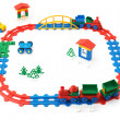 Children's railway, trains and other toys — Stock Photo