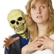 Terrible death came young woman - Stock Photo