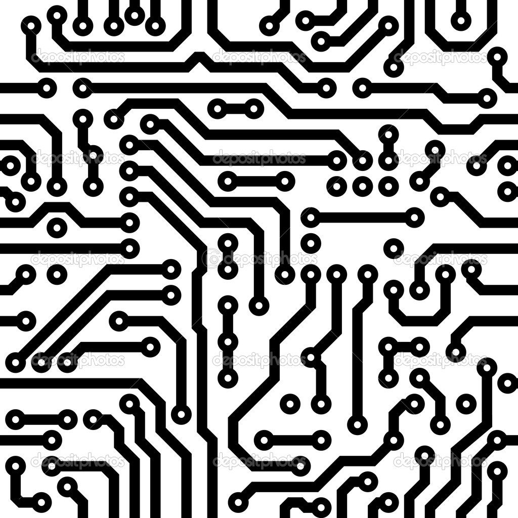 Monochrome seamless vector texture - electronic circuit board — ベクター素材ストック #4716322