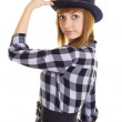 Young woman with black hat — Stock Photo