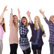 Постер, плакат: Girls pulling together hands up isolated on white background
