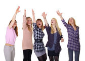 Girls pulling together hands up isolated on white background — Stock Photo