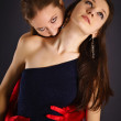 Two young girls portrayed vampire and sacrifice — Stock Photo #5079599