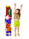 A child enjoys a lot of gifts for his birthday — Stock Photo
