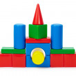 Small house made of colored toy bricks — Stock Photo