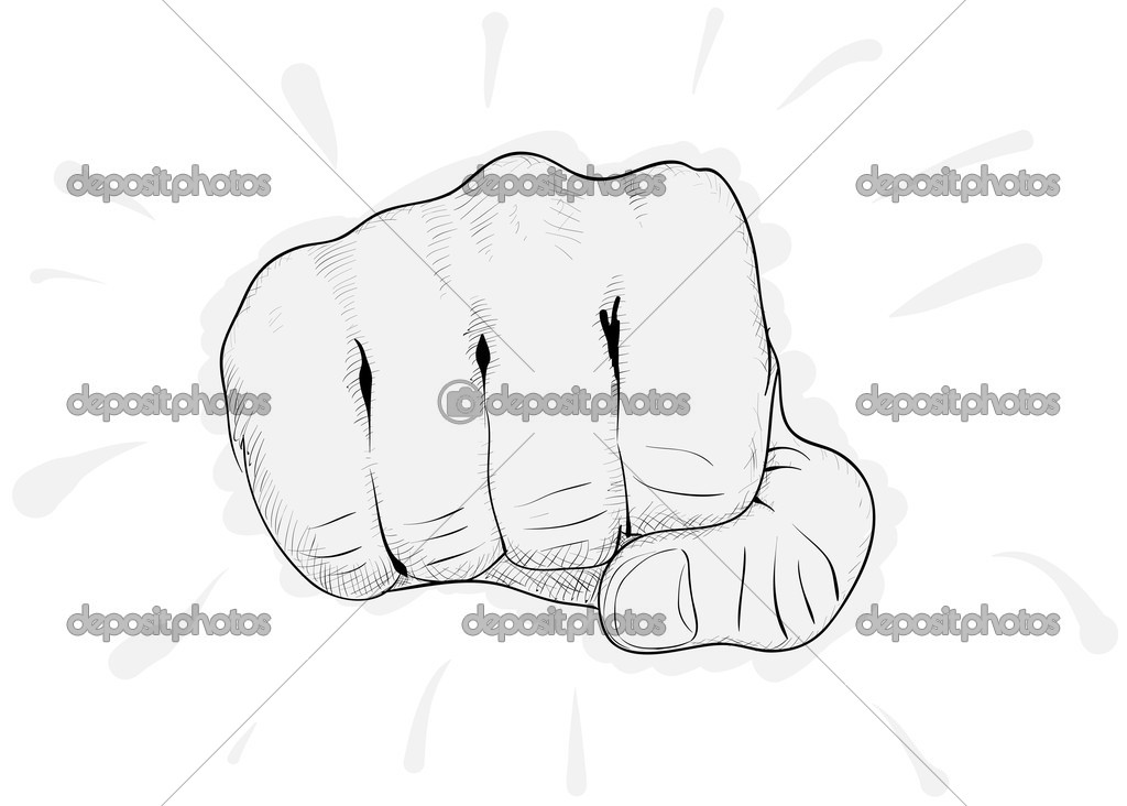 Vector simple drawing - a man's fist on a white background eps8 — Stock Vector #5221740