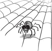 Simple monochrome vector image - spider in web — Stock Vector