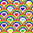 Vector illustration of a seamless rainbow pattern — Vector de stock