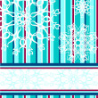 Vector illustration of a blue striped Christmas background with a snowflake — Stock Vector