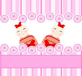 Twins girls on pink striped background — Stock Vector