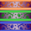 Vector illustration of a set of striped floral banners — Stok Vektör