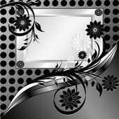 Vector illustration of a silver frame with ornament on metal texture made — Stock Vector