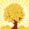 Stock Vector: Vector illustration of money tree with coins.