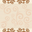 Striped sheet of paper with  floral border. — Stock Vector