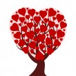 Vector illustration of a heart tree isolated on white background — ベクター素材ストック