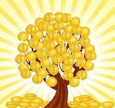 Vector illustration of a money tree with coins. — Stock Vector