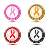Vector illustration of a set of support ribbon icons. — Stock Vector