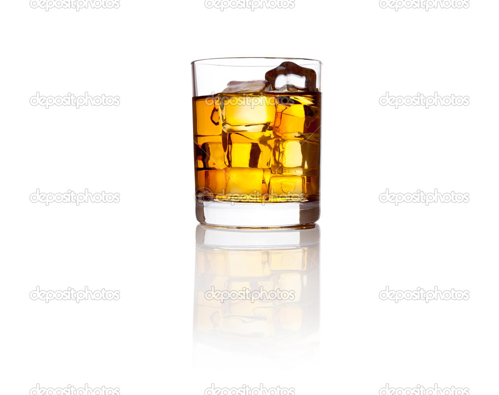 Glass of scotch whiskey and ice — Stock Photo #4098533
