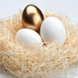 One golden egg and two white egg in the nest — 图库照片