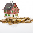 Miniature  house  with the coins — Stock Photo