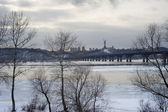"""Panoramic view of Kyiv with Paton bridge and monumental statue of the """"Motherland"""" . Ukraine — Stock Photo"""