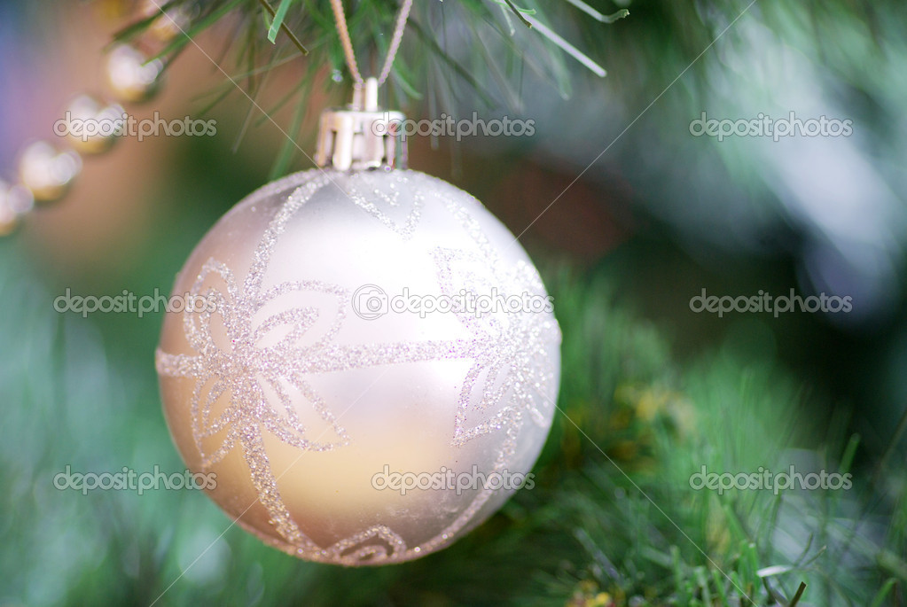 Christmas ball hanging with ribbons on white background  Stock Photo #4069010