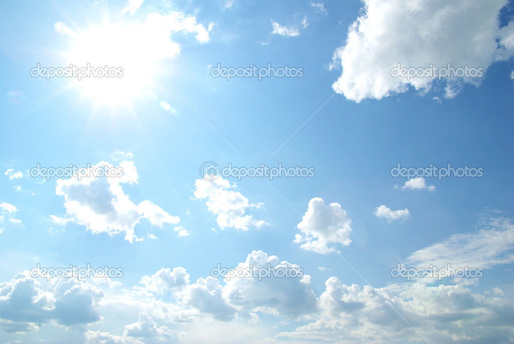 Blue sky with clouds and sun  Stock Photo #4388099