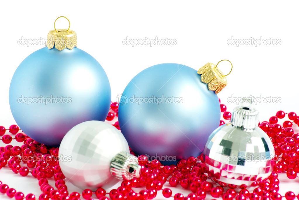 Blue christmas balls  isolated on a white — Stock Photo #4388107