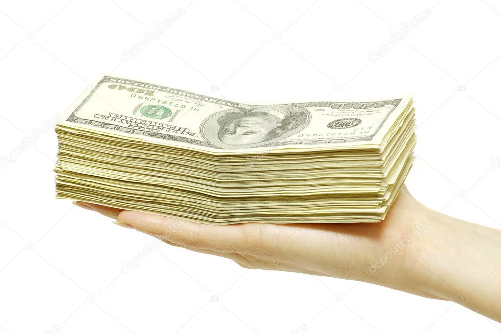 Hand with money isolated on white background — Stock Photo #4710872