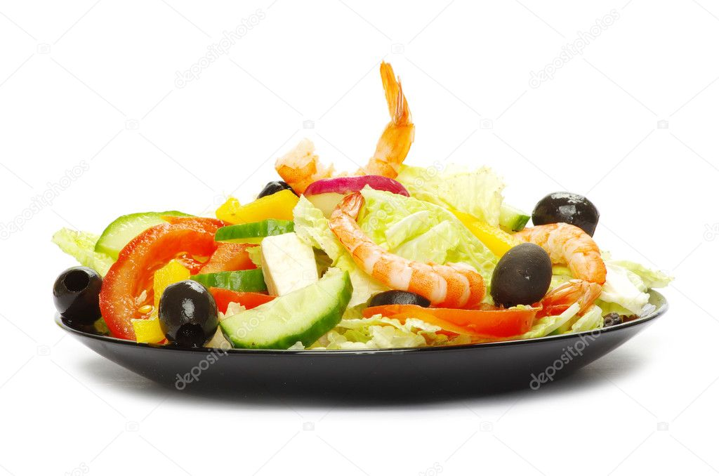 Appetizing salad on white background  Stock Photo #5284032