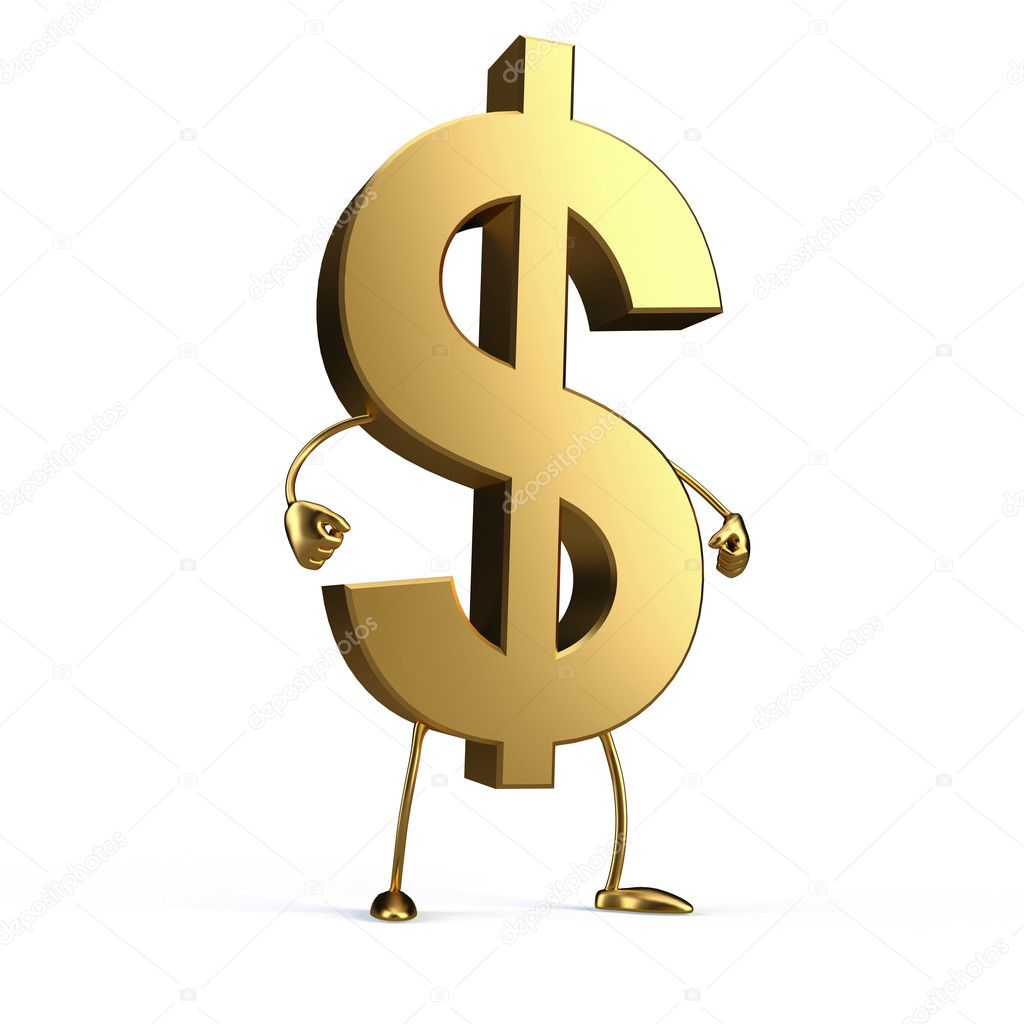 3d gold dollar financial symbol from 3dimentii — Stock Photo #4043950