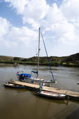 Boats on the river Guadiana — Stock Photo