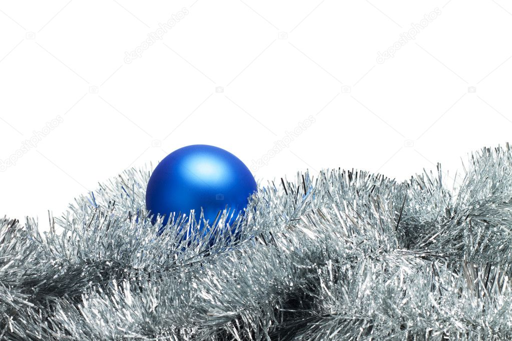 Blue christmas ball with tinsel isolated on white — Stock Photo #4258586