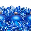 Blue christmas balls with tinsel isolated over white background — Foto Stock