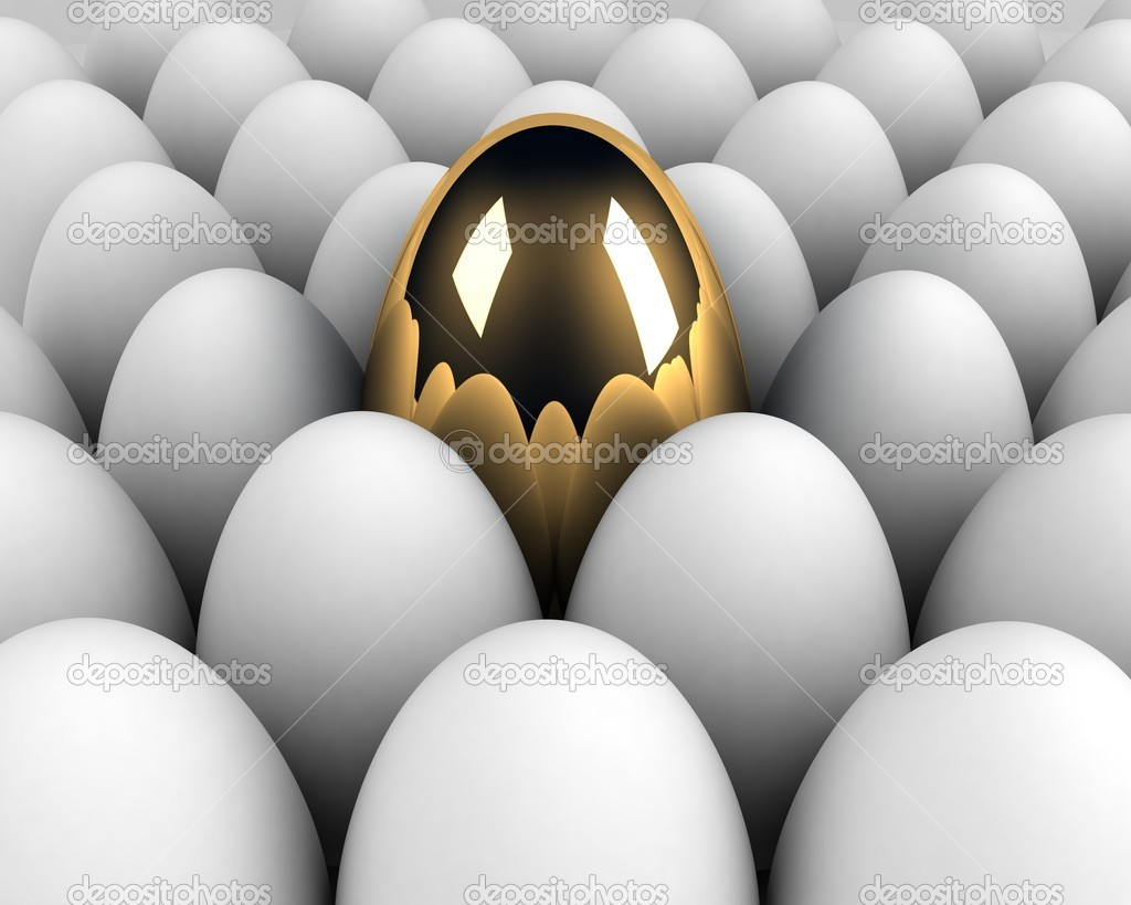 Unique egg in the crowd concept — Foto Stock #4787430