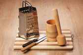 Kitchen tools on the wooden table — Stock Photo