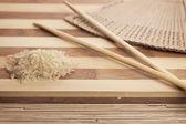 рис готовы быть приготовлены на макет — Стоковое фото