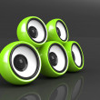 Stock Photo: Green audio system on grey background